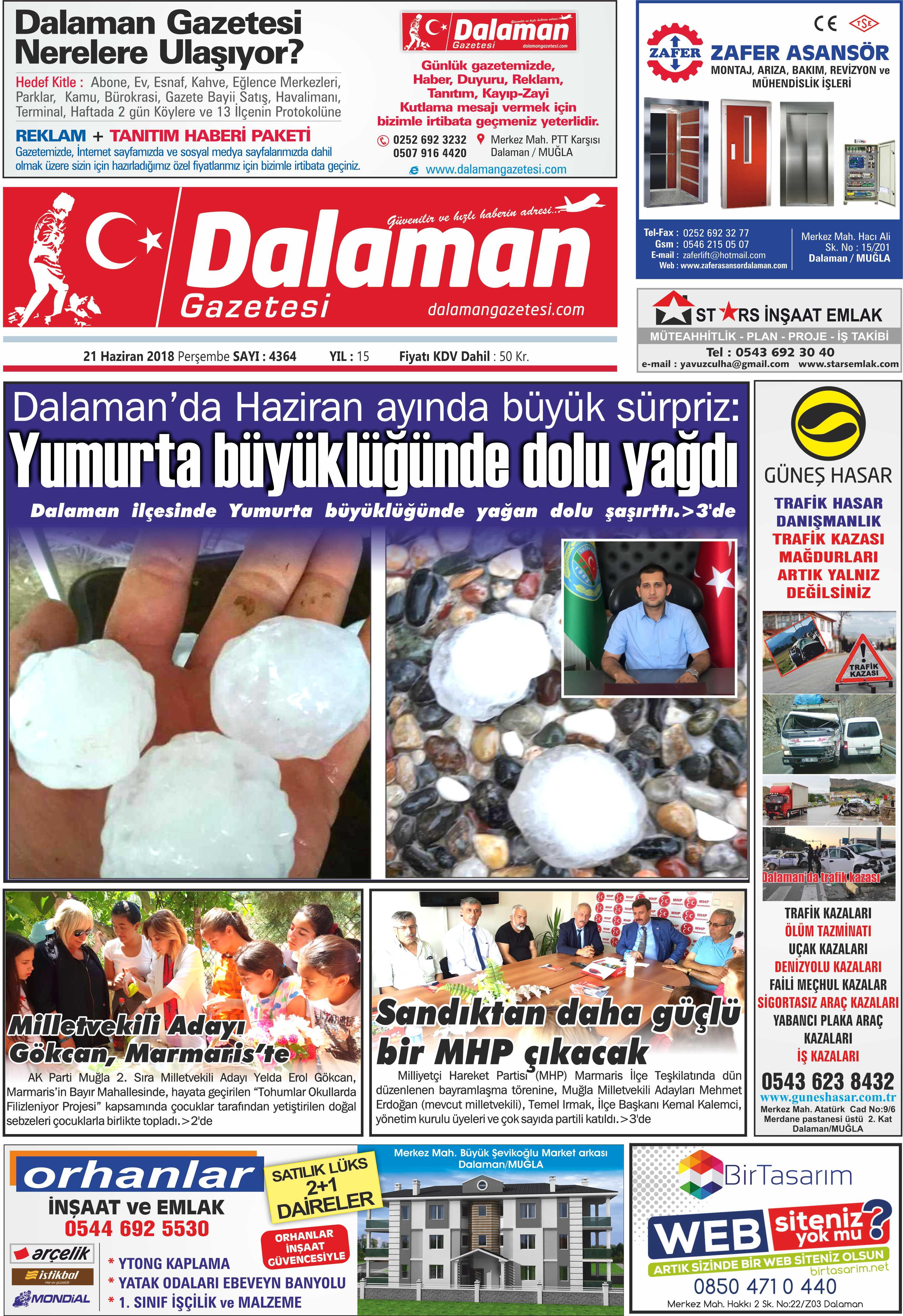 21.06.2018 0 - Dalaman Gazetesi'nden haber başlıkları