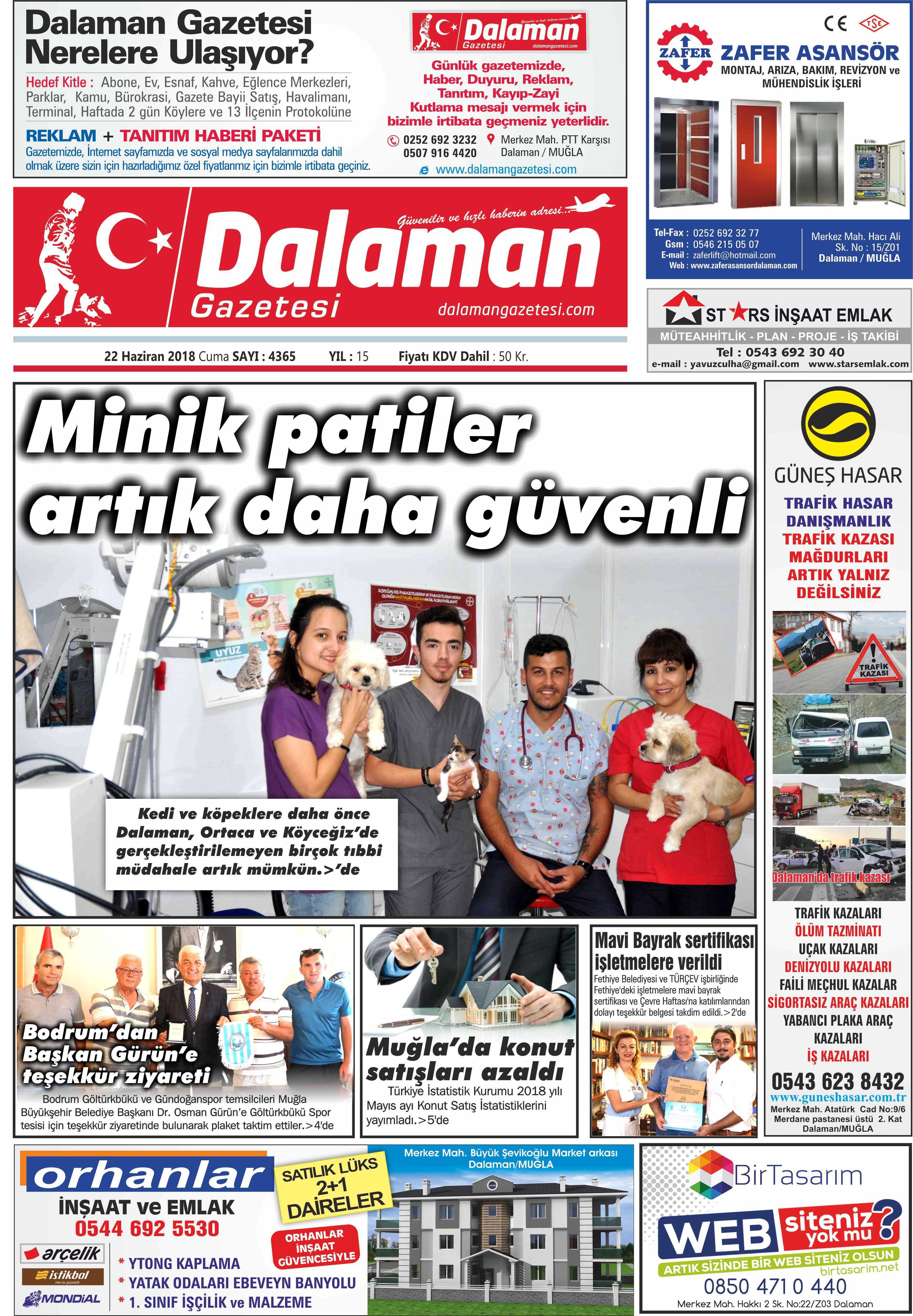 22.06.2018 0 - Dalaman Gazetesi'nden gündem başlıkları