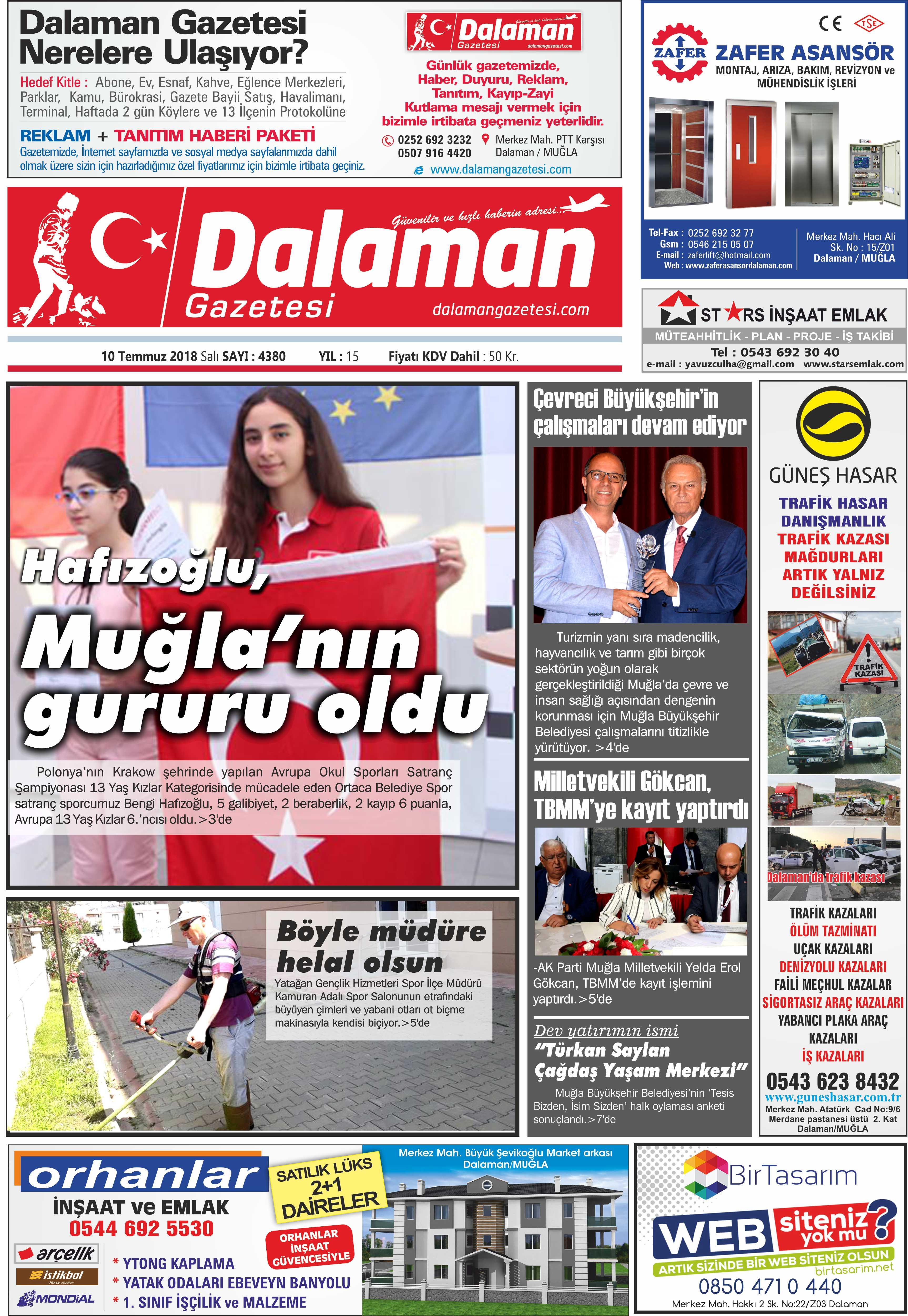 10.07.2018 0 - Dalaman'dan Haber başlıkları