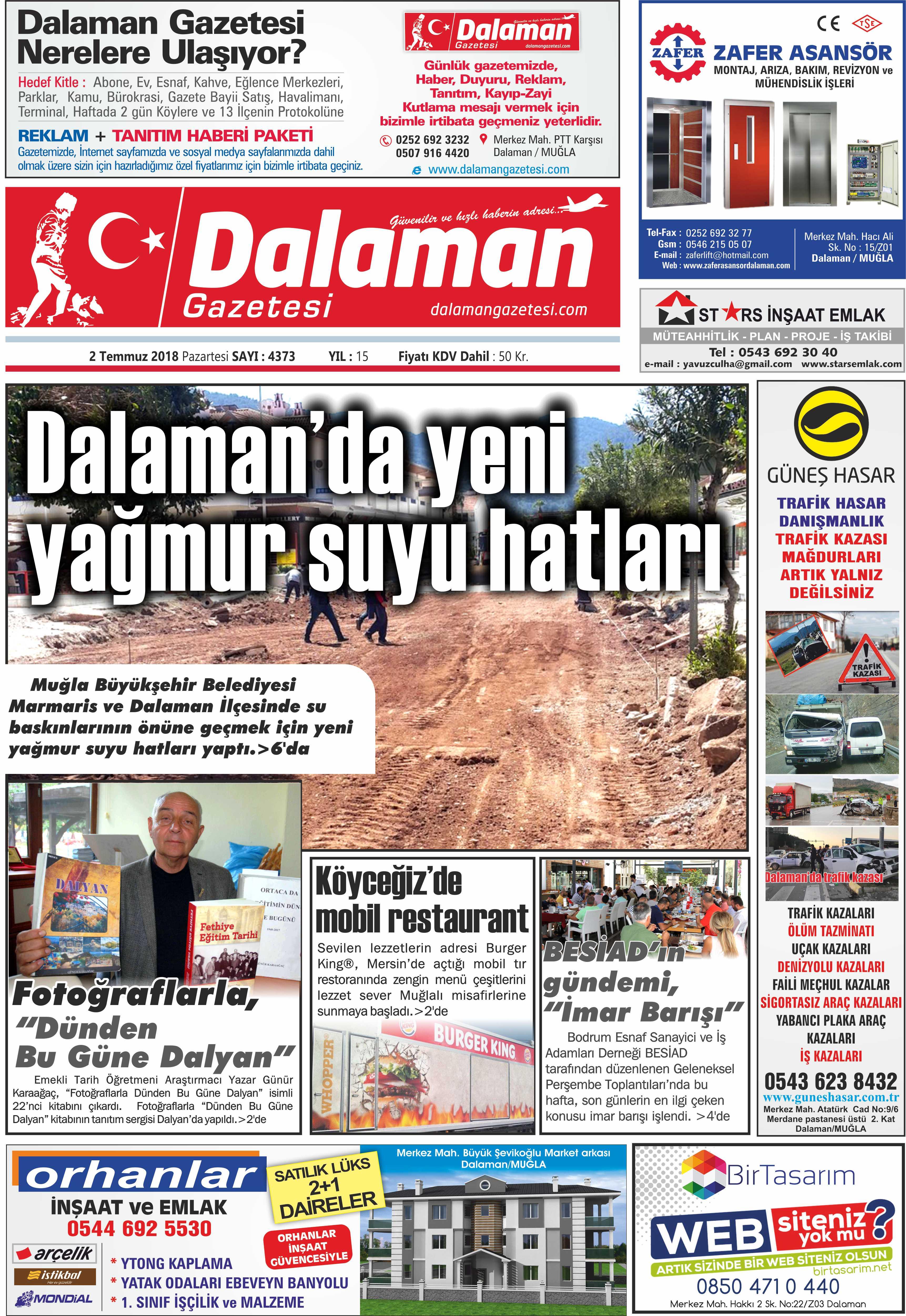 2.07.2018 0 - Dalaman'dan haber başlıkları